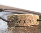 Tag It  personalized bracelet - hand stamped id bracelet - brass and leather bracelet