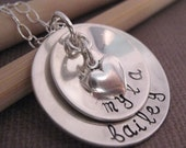 Hand Stamped Mothers Necklace - Two loves - Custom jewelry - personalized necklace