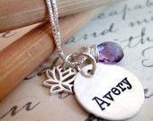 Personalized Jewelry - Hand stamped necklace - Lotus Necklace - Birthstone Necklace