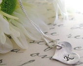 Bridesmaid Jewelry - Tiny Heart  Initial Necklace - Personalized Necklace - Bridesmaid Necklace - Mommy Necklace