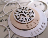 Family Necklace -  Family Tree - hand stamped necklace - Gold Filled and Sterling Silver Mothers Necklace