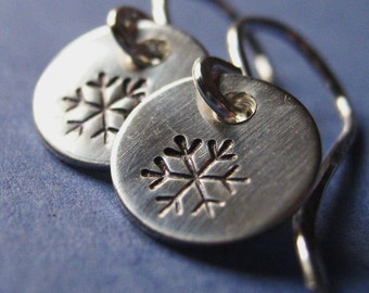 Snow Flurry sterling silver earrings - snow flake earrings - winter earrings