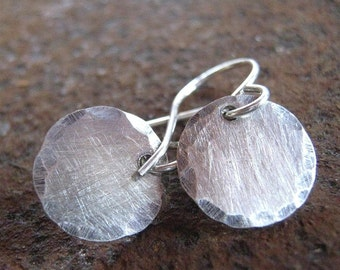 Edged sterling silver earrings - Brushed Silver Earrings - Silver Dot Earrings