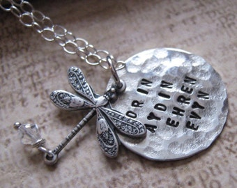 Take Me Home hand stamped dragonfly necklace