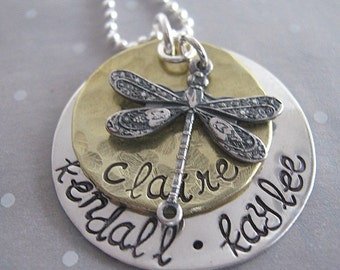 Handstamped necklace - Dragonfly mothers necklace - personalized jewelry