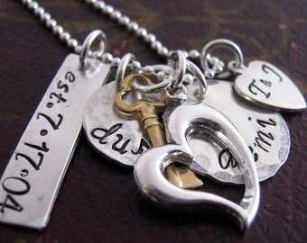 Hand Stamped Necklace - The Keys To My Heart family necklace - Mothers Necklace -