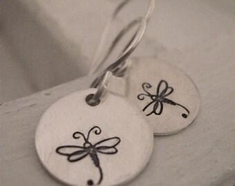 Dragonfly Earrings - hand stamped earrings