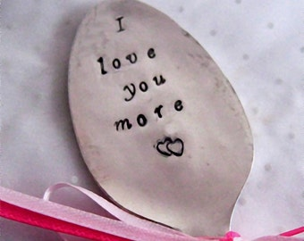Plant Marker - I love you more - vintage spoon - Garden Markers -