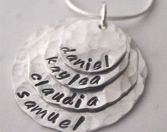 hand stamped necklace - 4 layer mothers necklace - Personalized Jewelry - Sterling Silver Mother Necklace