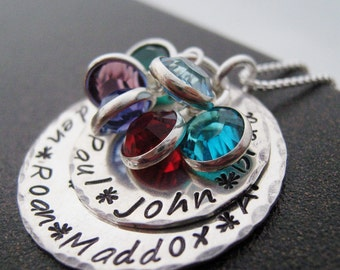 Hand Stamped Jewelry - Generations hand stamped necklace -  Grandmothers necklace - Personalized Jewelry