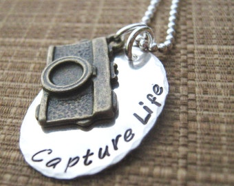 Capture Life hand stamped mixed metal necklace