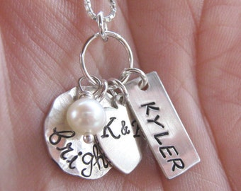 Small Family personalized hand stamped necklace
