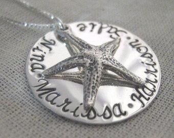 Hand Stamped Jewelry - Starfish Necklace - Family Necklace - handstamped custom mothers necklace
