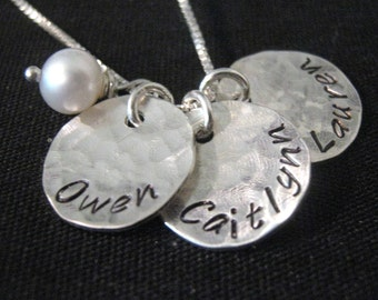 Hand Stamped Mommy Necklace - Three Loves - personalized mothers necklace with pearl