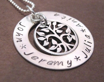 Family Tree hand stamped necklace - Tree of Life Necklace - Mothers Jewelry - personalized necklace