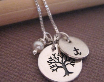 Tree Of Life Necklace - Initial Necklace - Personalized Necklace - handstamped jewelry