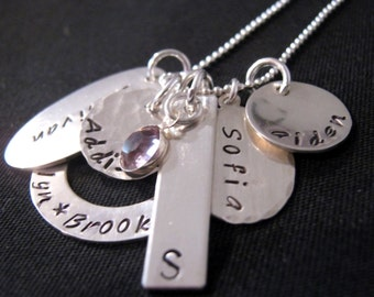 Family Necklace -   Large Family Mix It Collection -  Hand stamped necklace