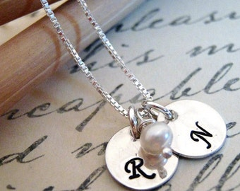 Initial Necklace - Initals in mini  - Personalized Jewelry