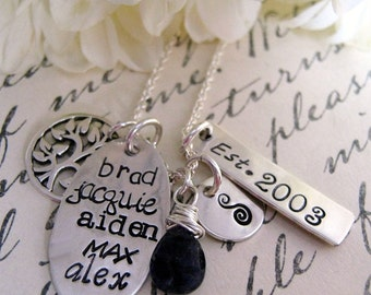 Hand Stamped Family Necklace - Family Tree - Subway Art Style - personalized necklace