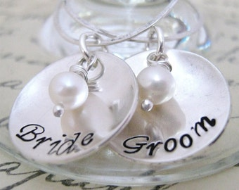 Bride and Groom Drink Tags - Wine Glass Charms -  hand stamped wine charms -  wedding wine charms - Personalized Wedding Charms
