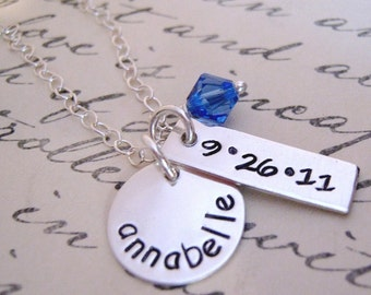 New Baby hand stamped necklace -  new mommy necklace - mothers jewelry