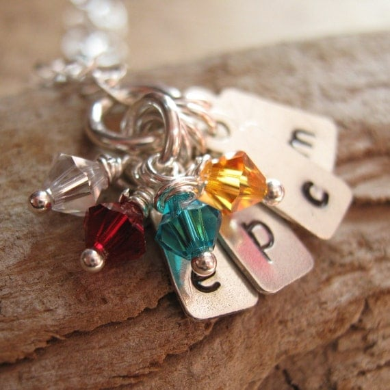 Reserved for amytammany Love Notes tiny hand stamped initial tag necklace  in sterling silver