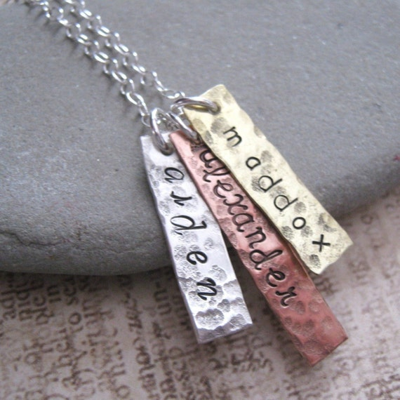 Mommy Medals  personalized  hand stamped name necklace in mixed metal