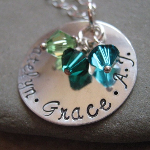 Hand Stamped Jewelry - The Classic hand stamped mothers necklace - Birthstone mothers necklace -