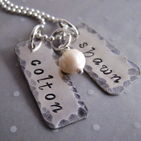 Just Two personalized hand stamped necklace