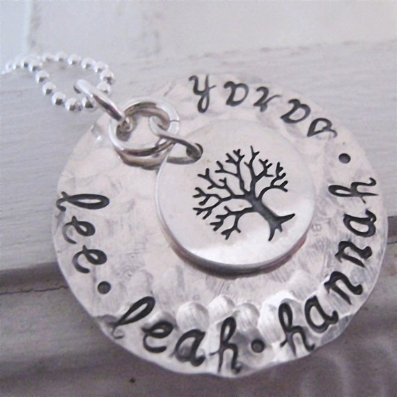 Family Tree  hand stamped necklace - grandmothers necklace - mothers necklace -
