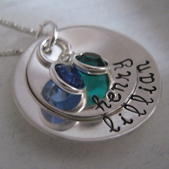 Custom Mother Jewelry - Mothers Smooth Bowl of Love - handstamped necklace