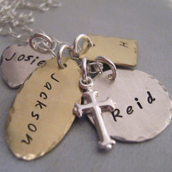 Personalized Jewelry - My Blessings - handstamped  necklace - Mothers Necklace