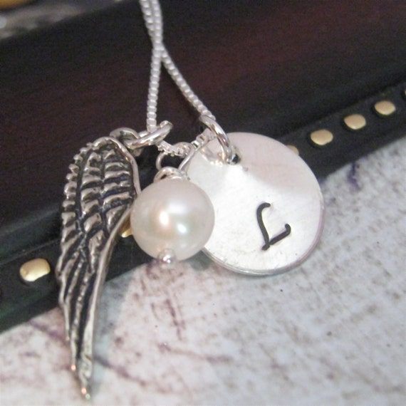 Angel wing necklace - hand stamped necklace - On a wing and a prayer necklace - personalized jewelry