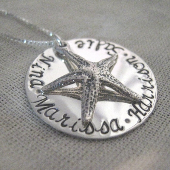 Hand stamped jewelry starfish necklace family necklace for How to make hand stamped jewelry