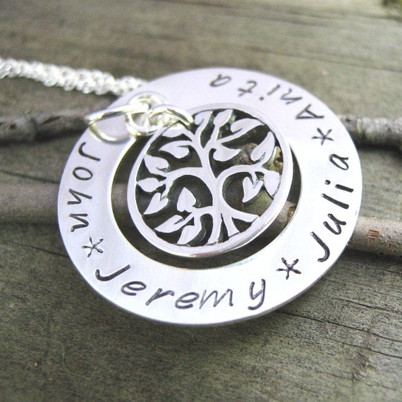 Family Tree Necklace -  hand stamped necklace - Tree of Life Necklace - Mothers Jewelry - personalized necklace - Grandma Necklace