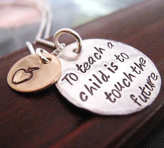 To Teach -  Hand Stamped Teacher Necklace -