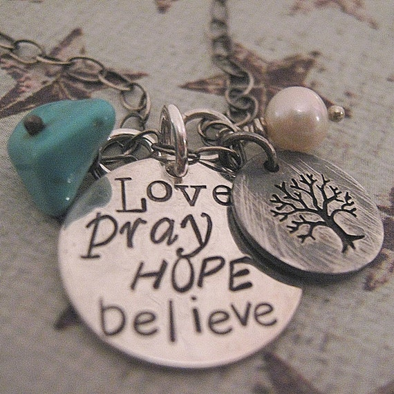 Hand Stamped Necklace - Inspiration Necklace - Subway Art Necklace  - Charm Necklace