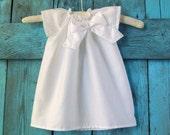 Pure white or antique ivory baby baptism DRESS cotton, BASIC BOW custom newborn to 6 girls