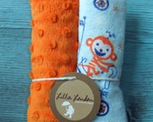 blue monkey with orange dot minky baby shower gift car seat strap covers