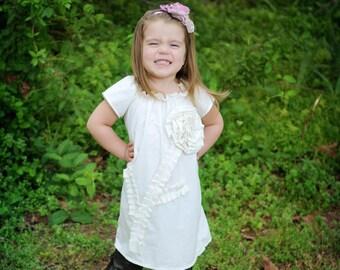 baby baptism DRESS Shabby chic PLAIN JANE in antique ivory or white custom newborn to 6