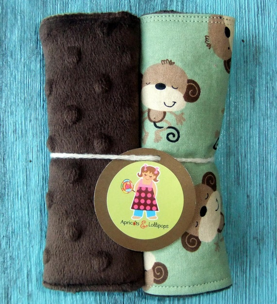 Green monkey and brown dot minky, reversible seat belt strap covers