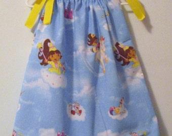 Enchanted Princess Dora the Explorer Pillowcase Dress custom size 3m, 6m, 9m, 12m, 18m, 2T, 3T, 4T