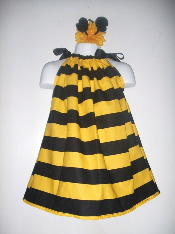 Reserved for Jennifer Bumble Bee Halloween Pillowcase Dress custom sizes 3m, 6m, 9m, 12m, 18m, 2T, 3T, 4T with antenna flower clip