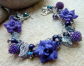 REDUCED Floral Charm Bracelet Purple Shimmer Rose SRAJD