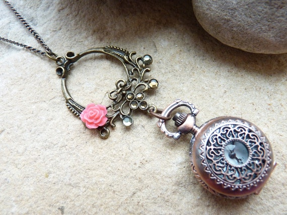 SALE Pocket Watch Necklace Vintage Style with Coral Pink Lucite Rose SRAJD