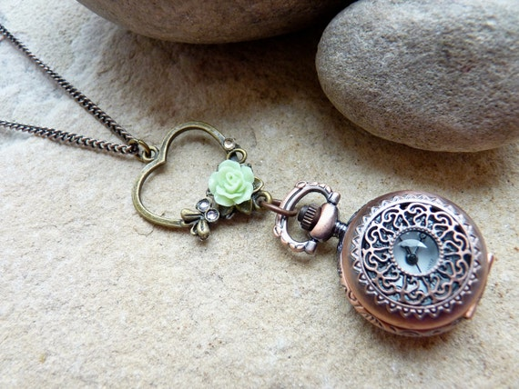 Pocket Watch Necklace Vintage Style with Apple Green Lucite Rose SRAJD