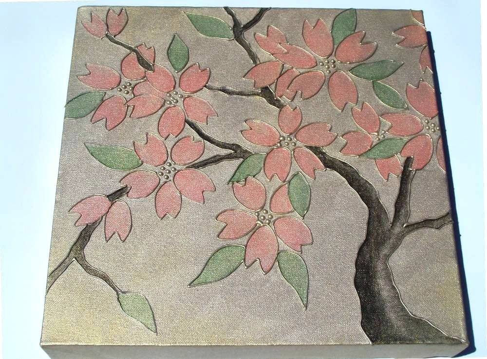 Asian cherry blossom canvas painting for Canvas painting of cherry blossoms