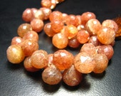 """FULL 7"""" Strand- Stawberry Quartz Faceted Onion - Size 8-10mm"""
