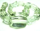 "FULL 7"" Strand-  AAA Green Amethyst Step Cut Nuggets - Size 12-16mm"