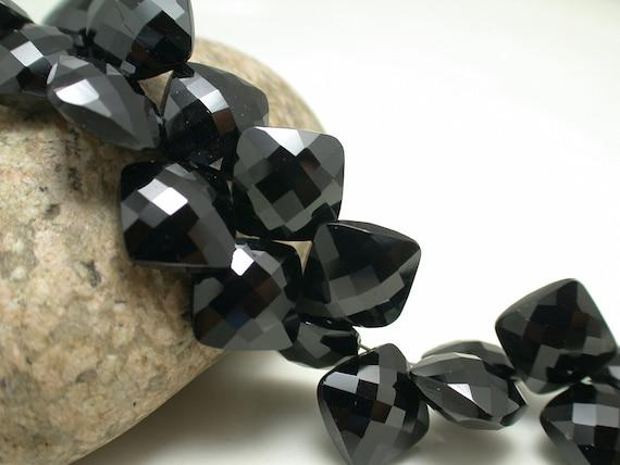 Sparkling Black Spinel Faceted Square Briolette Beads--Shine like black diamond--10mm